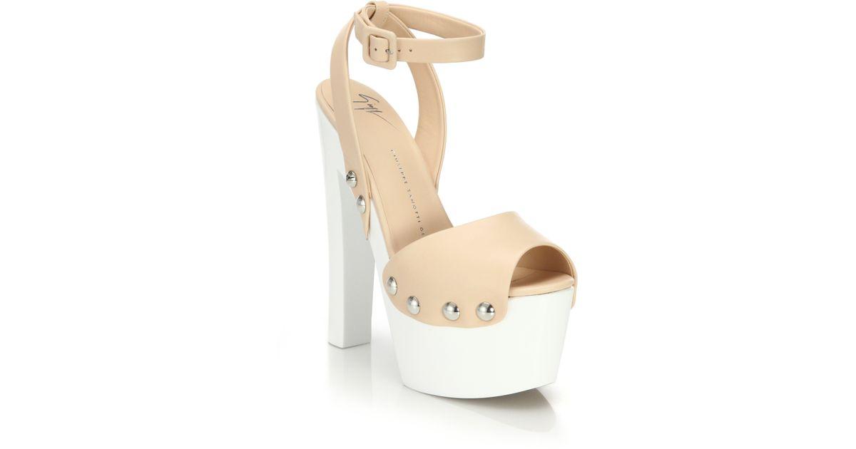 7e8e06c2297 Lyst - Giuseppe Zanotti Leather Clog Platform Sandals in Natural