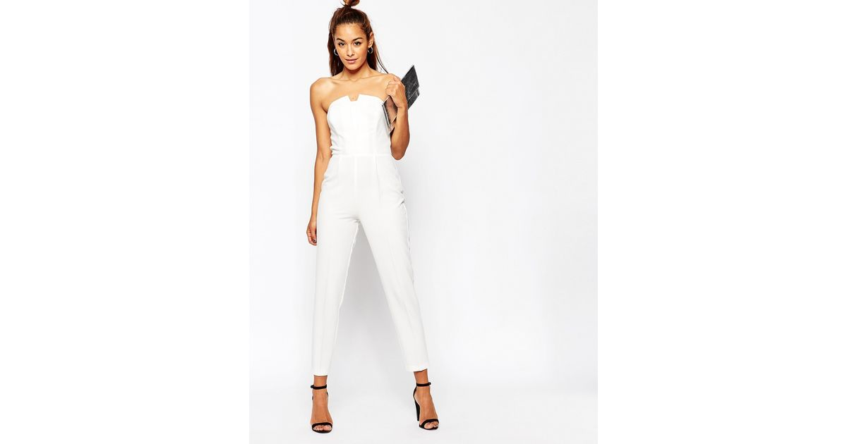 asos pleated origami jumpsuit in white lyst