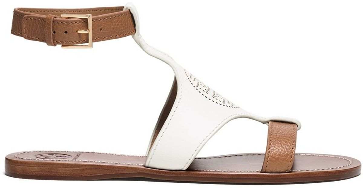 28236d67d Lyst - Tory Burch Perforated Logo Flat Sandal in White