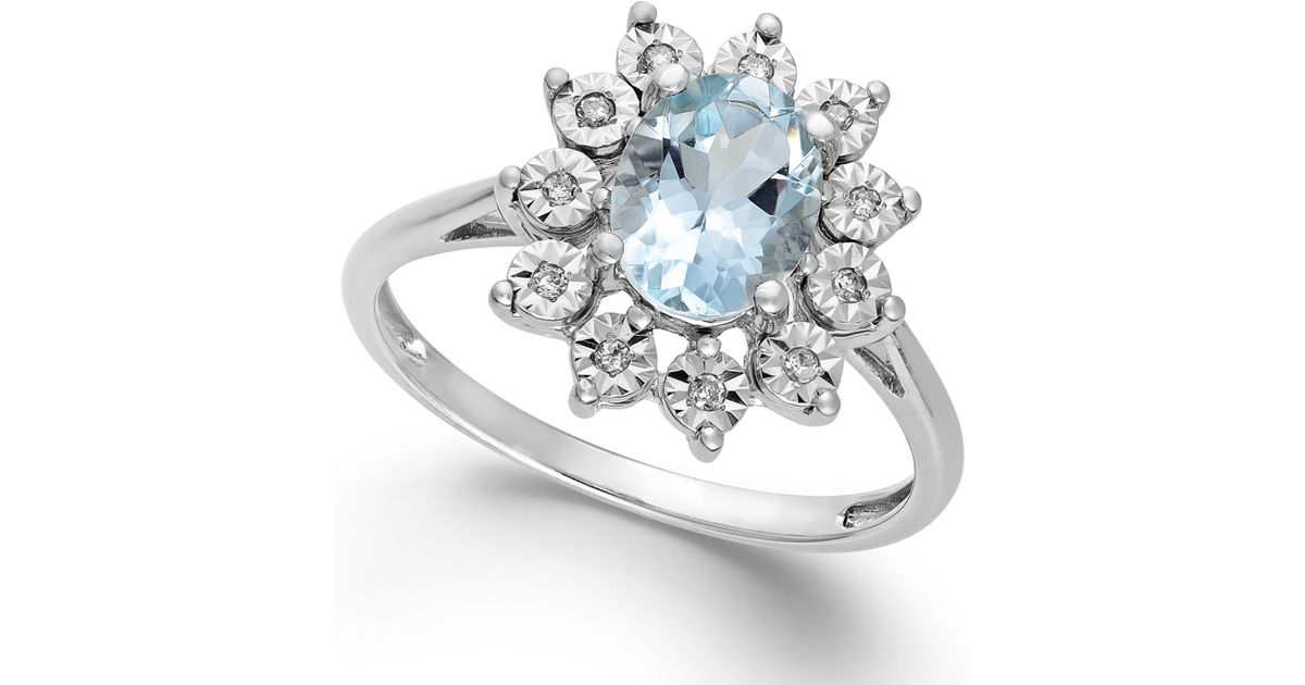 Macy s Aquamarine 1 Ct T w And Diamond Accent Ring In 14k White Gold