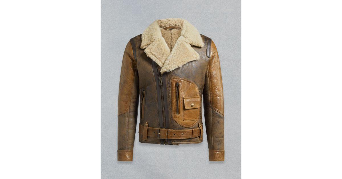 f29fda8b8fb Lyst - Belstaff Danescroft Shearling Aviator Jacket in Brown for Men