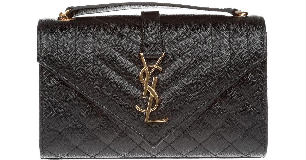 1e15e1be9d73 Saint Laurent Monogram Ysl Envelope Small Chain Shoulder Bag - Golden  Hardware in Black - Lyst