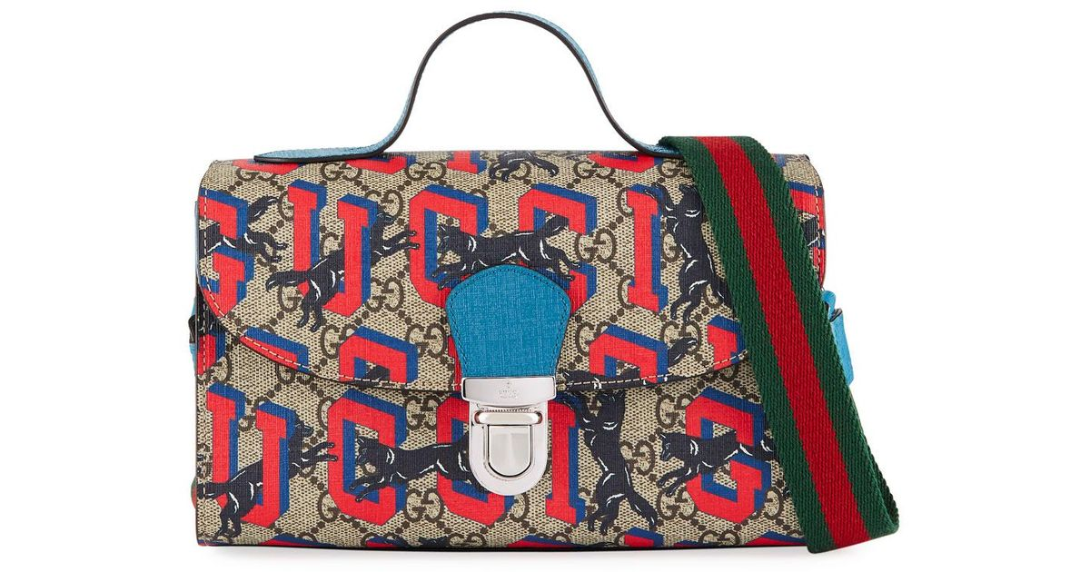 d0a4ac46ca2 Lyst - Gucci Kids  Wolves-print Gg Supreme Top-handle Flap Bag in Blue