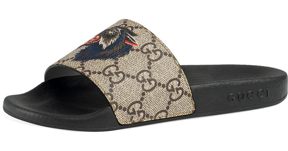45a9ec66a436 Lyst - Gucci Pursuit Angry Cat   Wolf Gg Supreme Canvas Slide Sandals in  Natural
