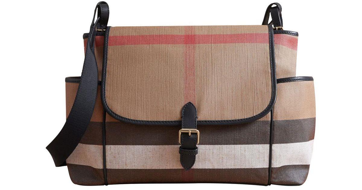 2754a376f26c Burberry Flap-top Check Canvas Diaper Bag in Black - Lyst
