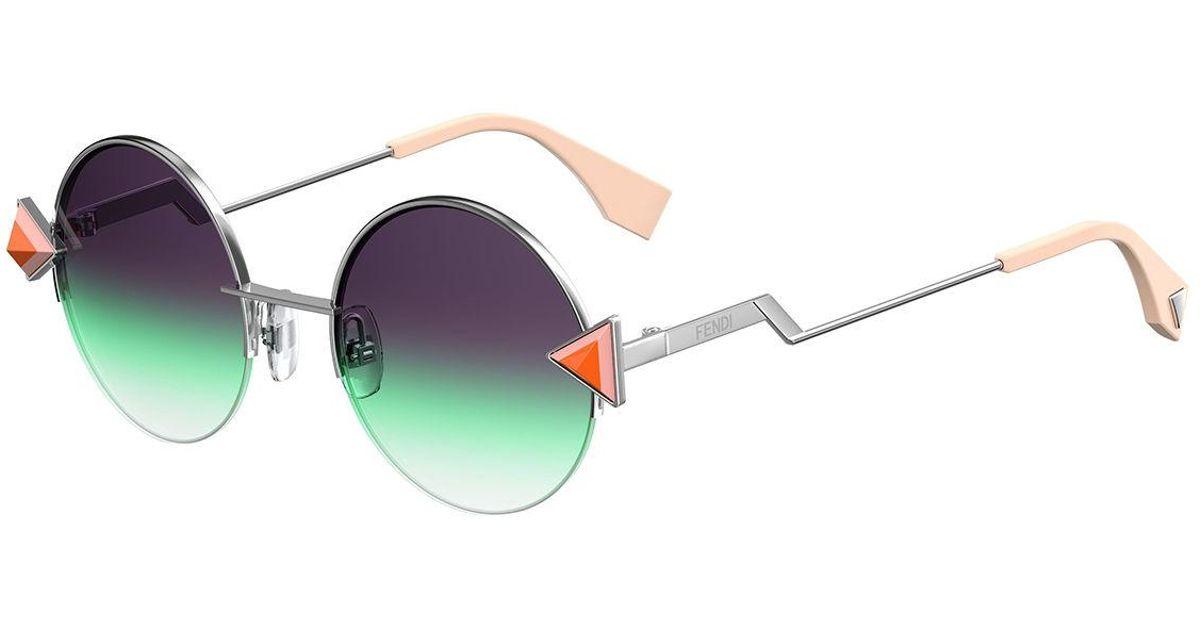 e611ef5f67 Lyst - Fendi Rainbow Round Sunglasses in Metallic