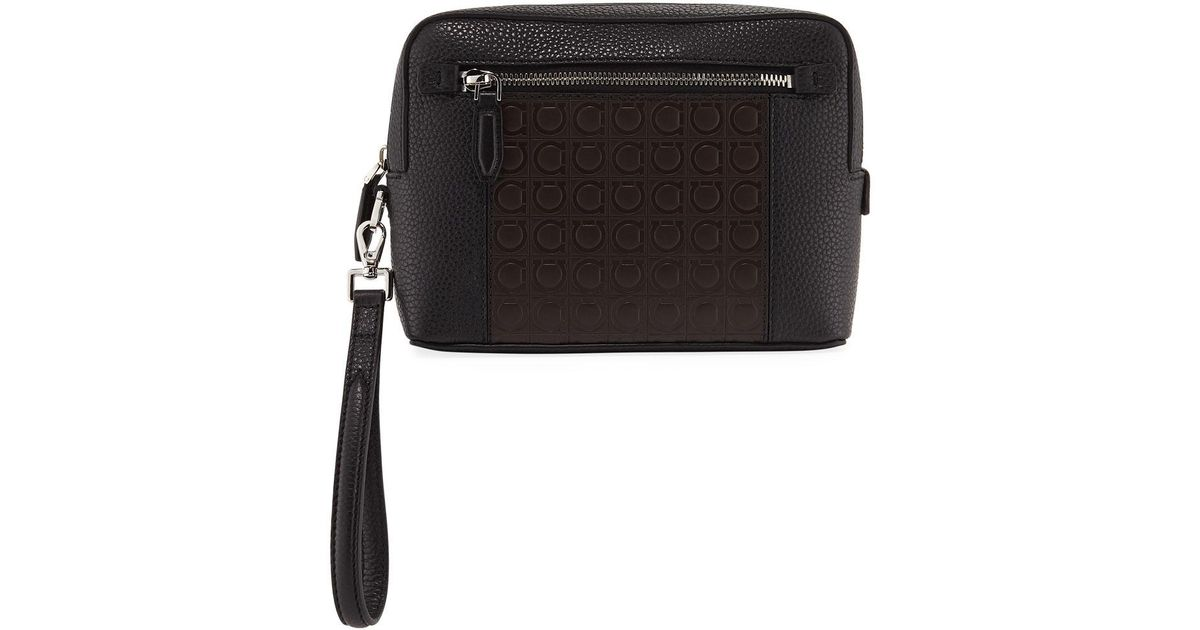 a906e63e37 Lyst - Ferragamo Men s Firenze Gamma Textured Leather Belt Bag in Black for  Men
