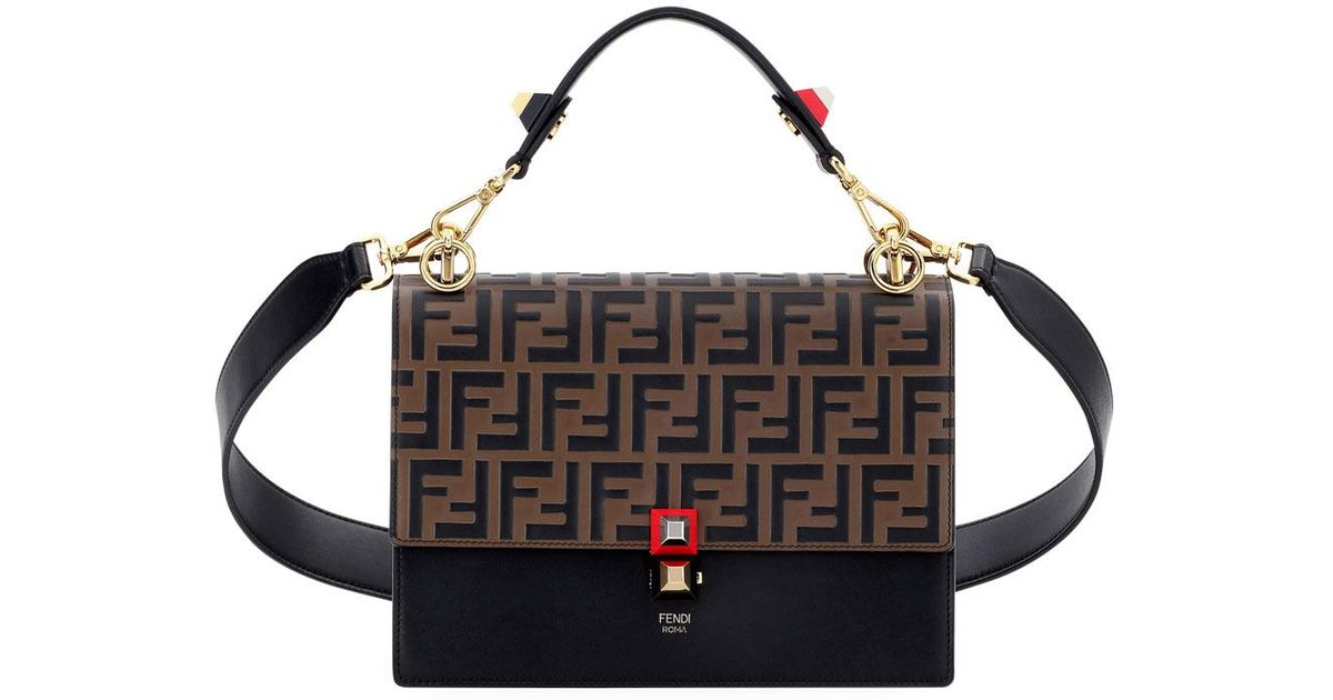 Lyst - Fendi Kan I Ff Embossed Shoulder Bag in Black 55f254007593d