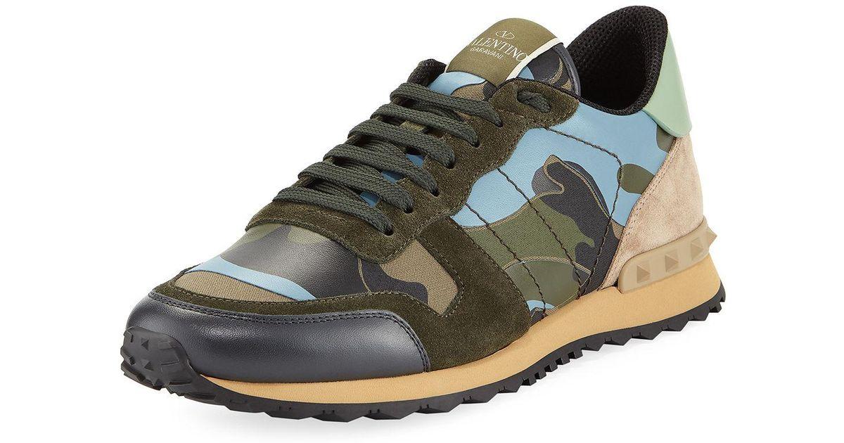 4df619a46c34 Lyst - Valentino Men s Rockrunner Camo-print Sneaker in Green for Men