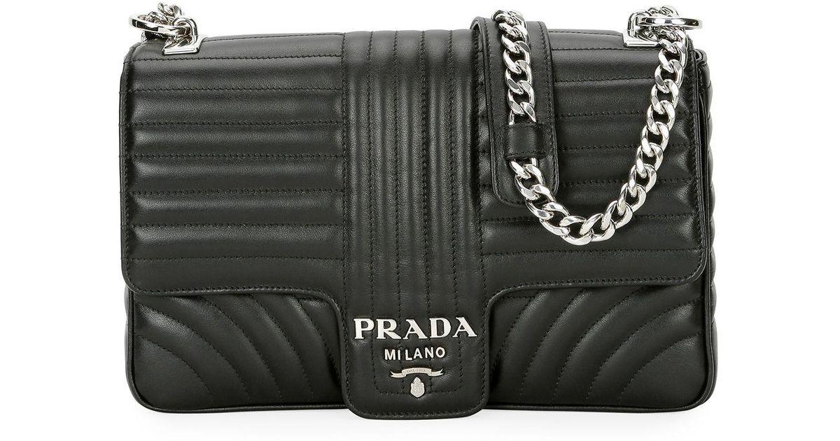 Lyst - Prada Large Diagramme Shoulder Bag W  Chain Strap in Black c8bf802923338