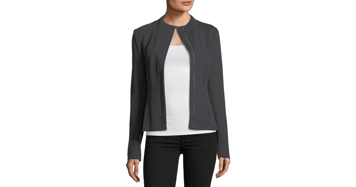 17e82fc507 Theory Sculpted Knit Zip-front Twill Jacket in Gray - Lyst
