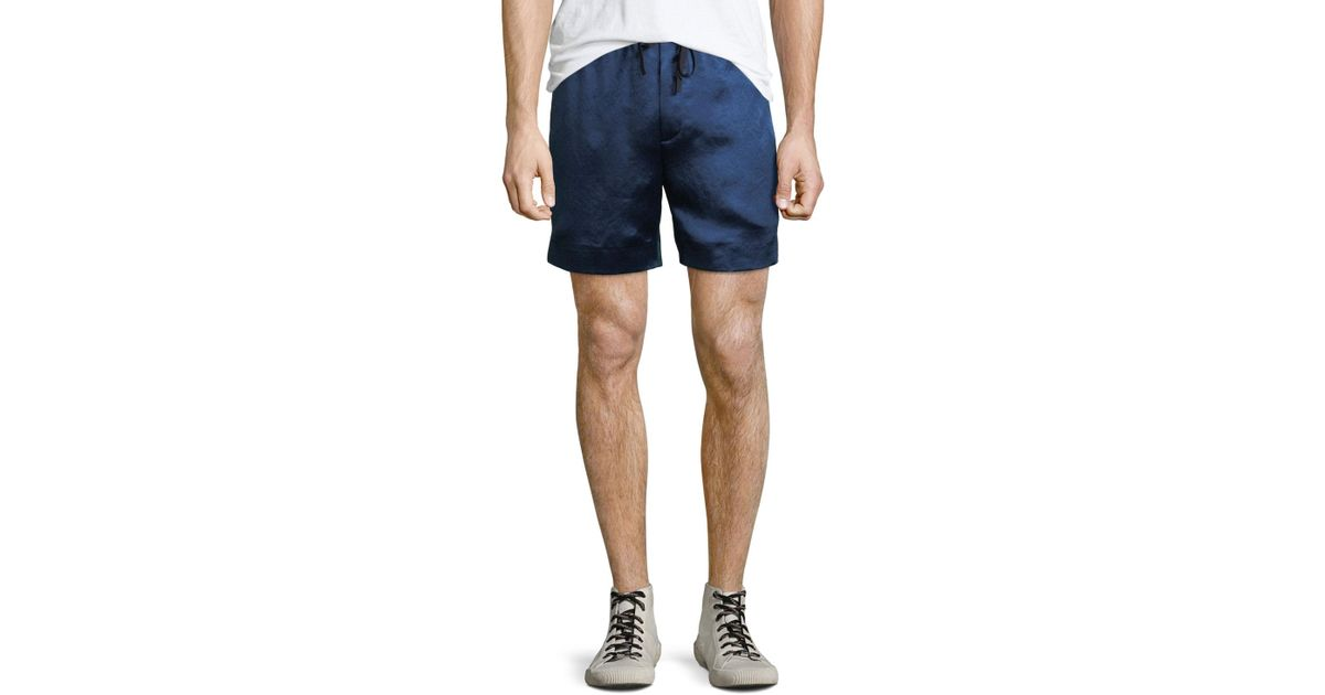 Lyst - Gucci Retro Side-stripe Sateen Sweat Shorts in Blue for Men 05bbbbbac2a8