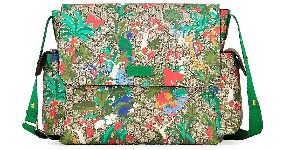 aa988b33b76 Gucci Borsa Mamma Gg Supreme Canvas Jungle-print Diaper Bag W  Changing Pad  in Natural - Lyst