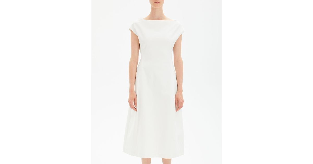 1470956c04 Theory Boat-neck Double-stretch Tulip Midi Dress in White - Lyst