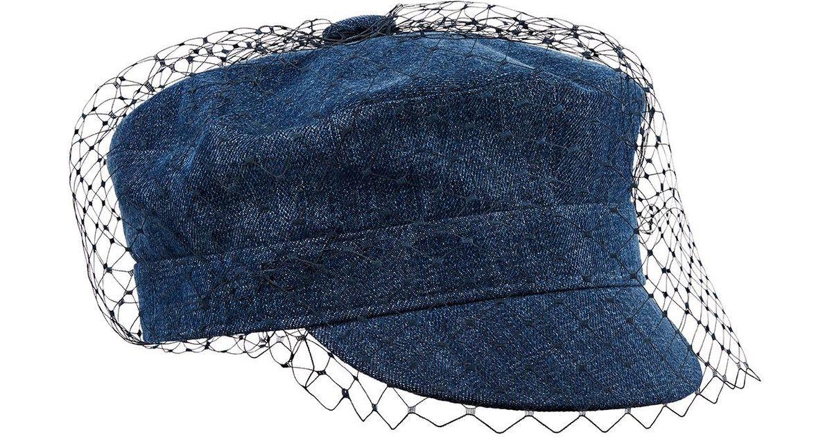 Lyst - Dior Arty Veil Denim Cap in Blue 92869cdd2cc