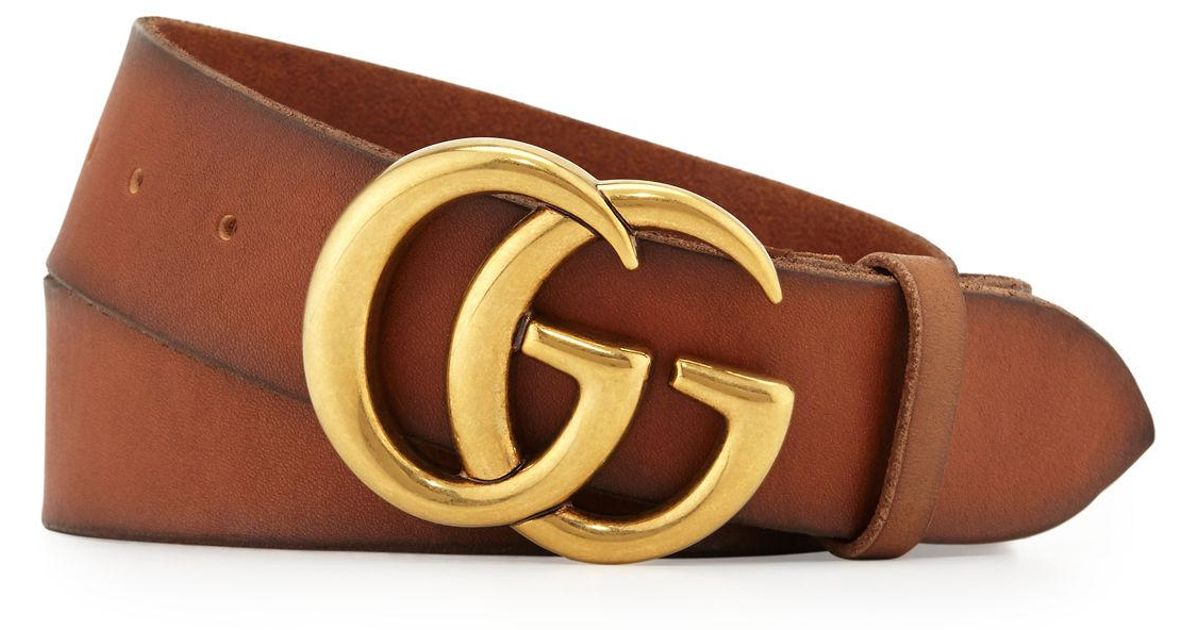 a9c0dc6351c Lyst Gucci Men S Leather Belt With Double G Buckle In Brown For