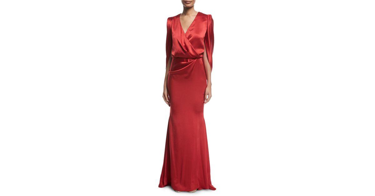 Lyst - Talbot Runhof Pomelo Draped Blouson Satin Gown in Red