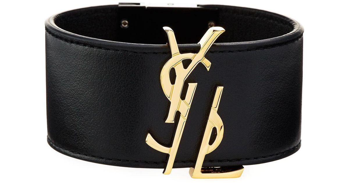 7e132062412 Saint Laurent Ysl Leather Cuff Bracelet in Black - Lyst