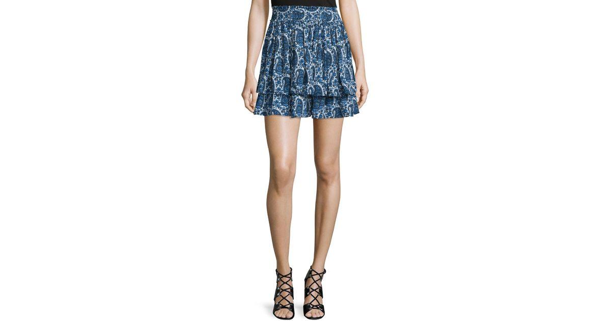 cda906d6bc 10 Crosby Derek Lam Tiered Silk Paisley Mini Skirt - Lyst