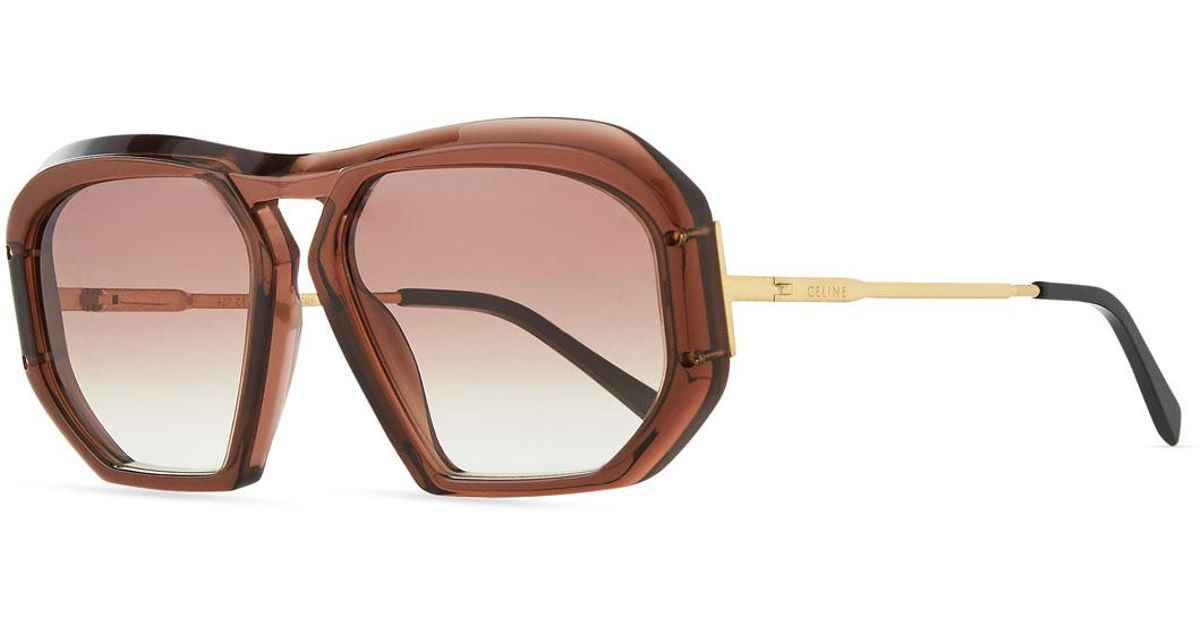 e02e197e011 Lyst - Céline Square Gradient Acetate Sunglasses in Brown