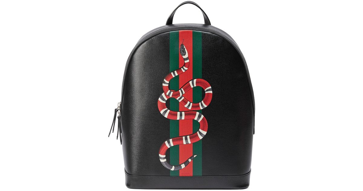 283a83b2834b Gucci Web & Snake Leather Backpack in Black - Lyst