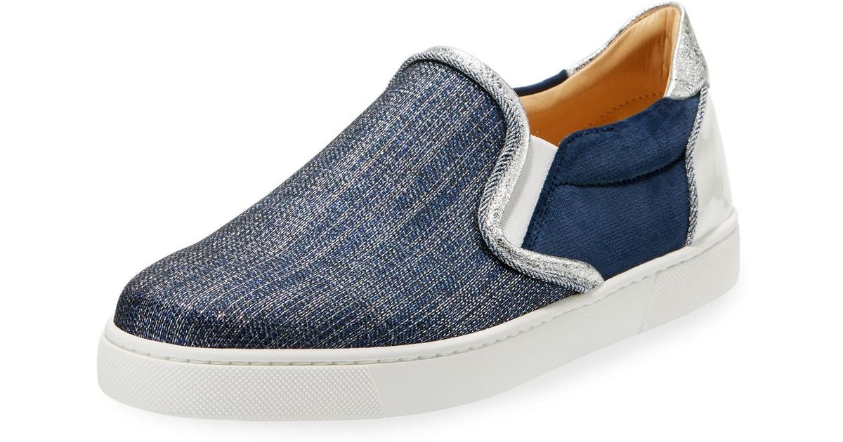 5621fd183d4 Lyst - Christian Louboutin Masteralta Denim Red Sole Sneakers in Blue for  Men