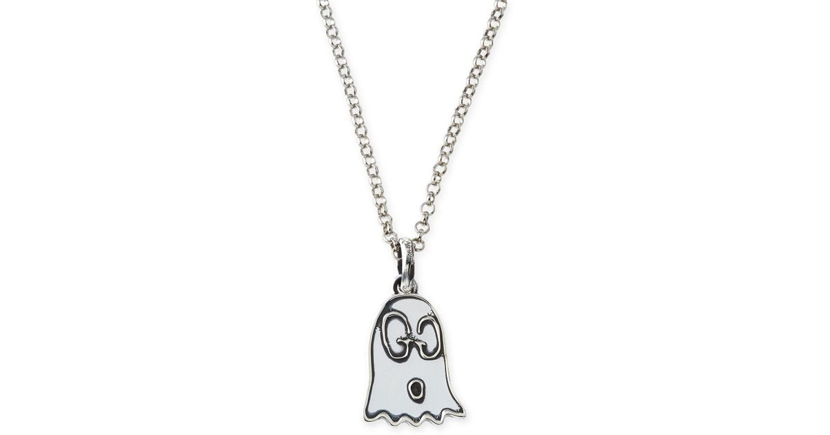 d62885dac Gucci Ghost Sterling Silver Charm in Black - Lyst