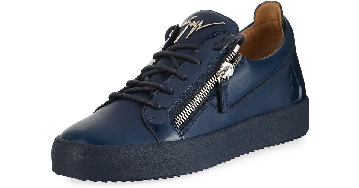 e6f0d47b5eb Lyst - Giuseppe Zanotti Men s London Double-zip Leather Low-top Sneaker in  Blue for Men
