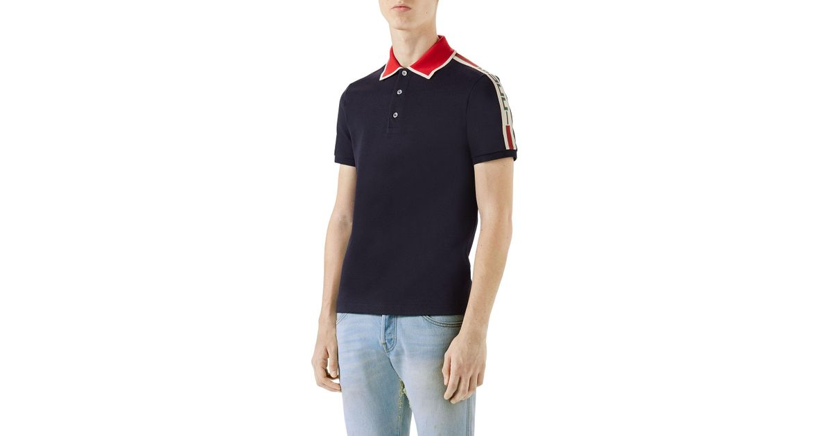 9ec38267d Lyst - Gucci Contrast-trim Polo Shirt in Blue for Men