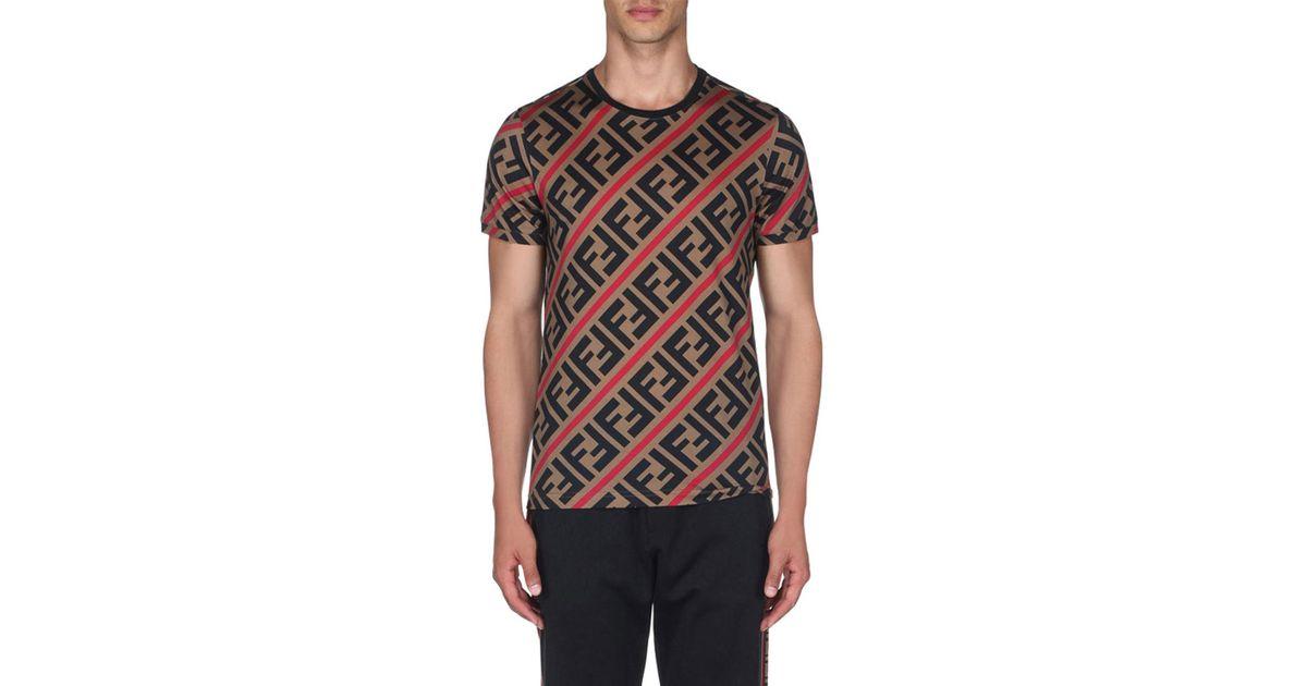 5870b9e8878 Fendi Men's Horizontal Stripe T-shirt for Men - Lyst