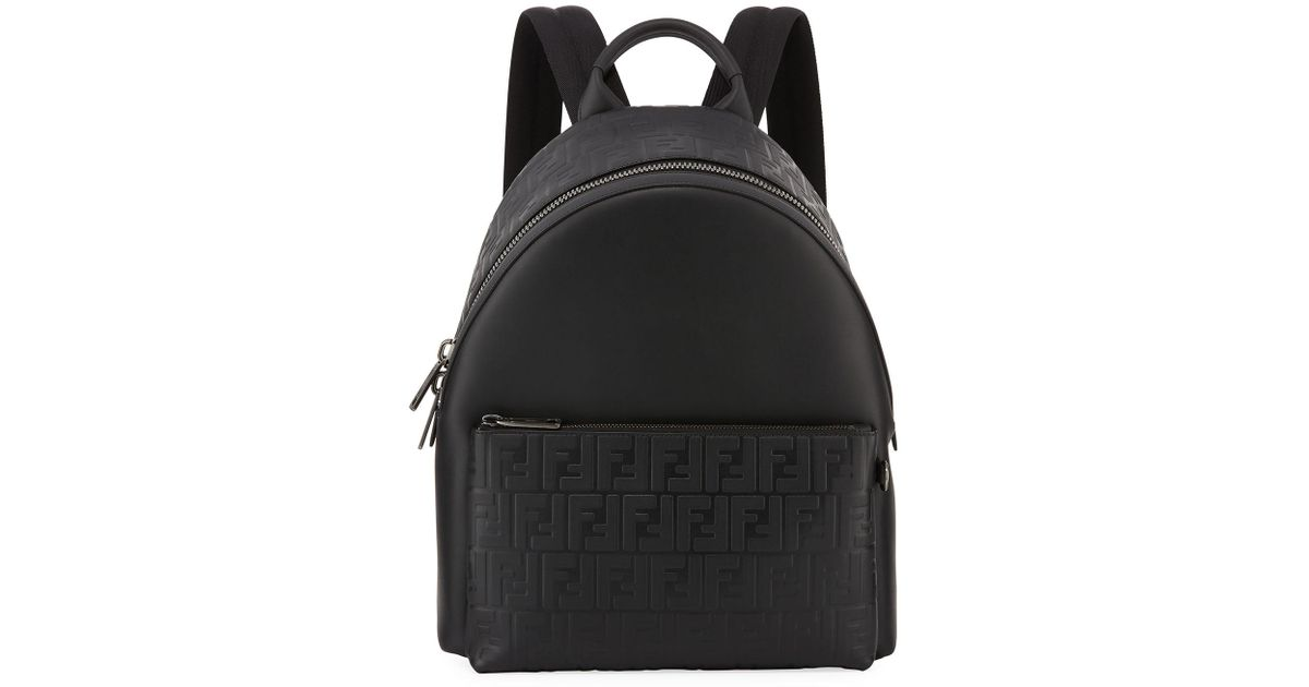 9fa2d092375 Lyst - Fendi Signature Leather Logo Backpack in Black