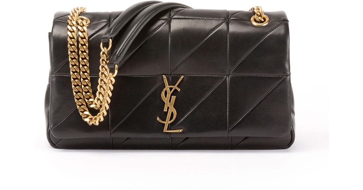 Lyst - Saint Laurent Jamie Medium Diamond-quilted Chain Shoulder Bag -  Bronze Hardware in Black 6ffe43dc4ae06