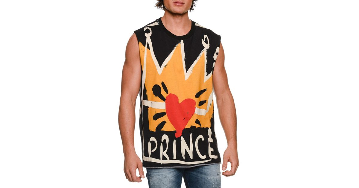 a43c0f7c28 Lyst - Dolce   Gabbana Prince Forever Oversized Muscle Tank Top in Yellow  for Men