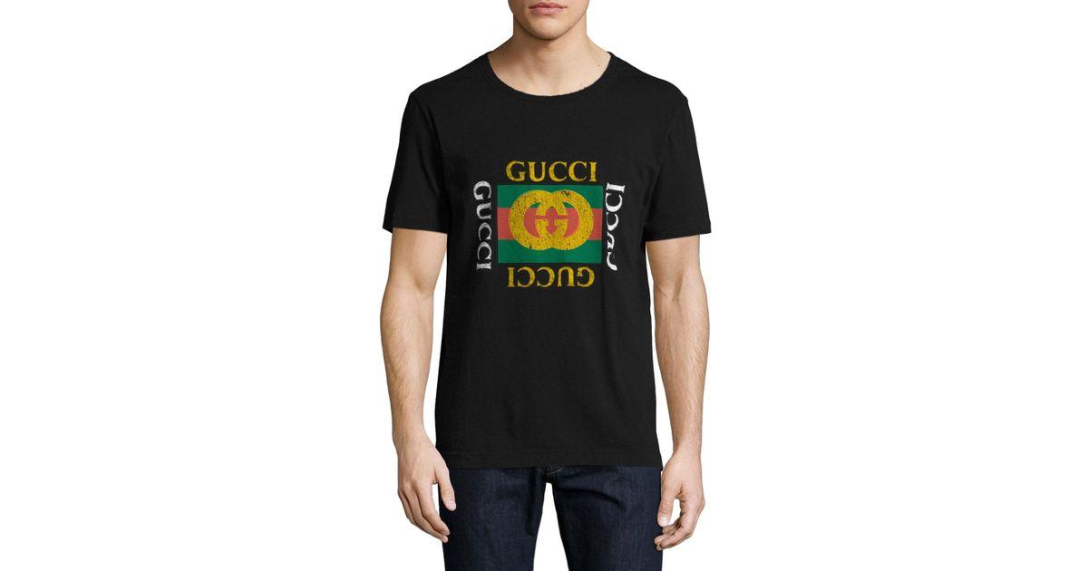 497efe1af37280 Lyst - Gucci Washed T-shirt W gg Print in Black for Men