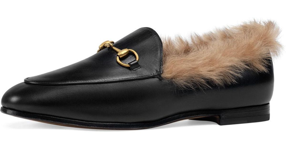 e34b2083a89 Lyst - Gucci 10mm Jordaan Leather And Fur Loafer in Black