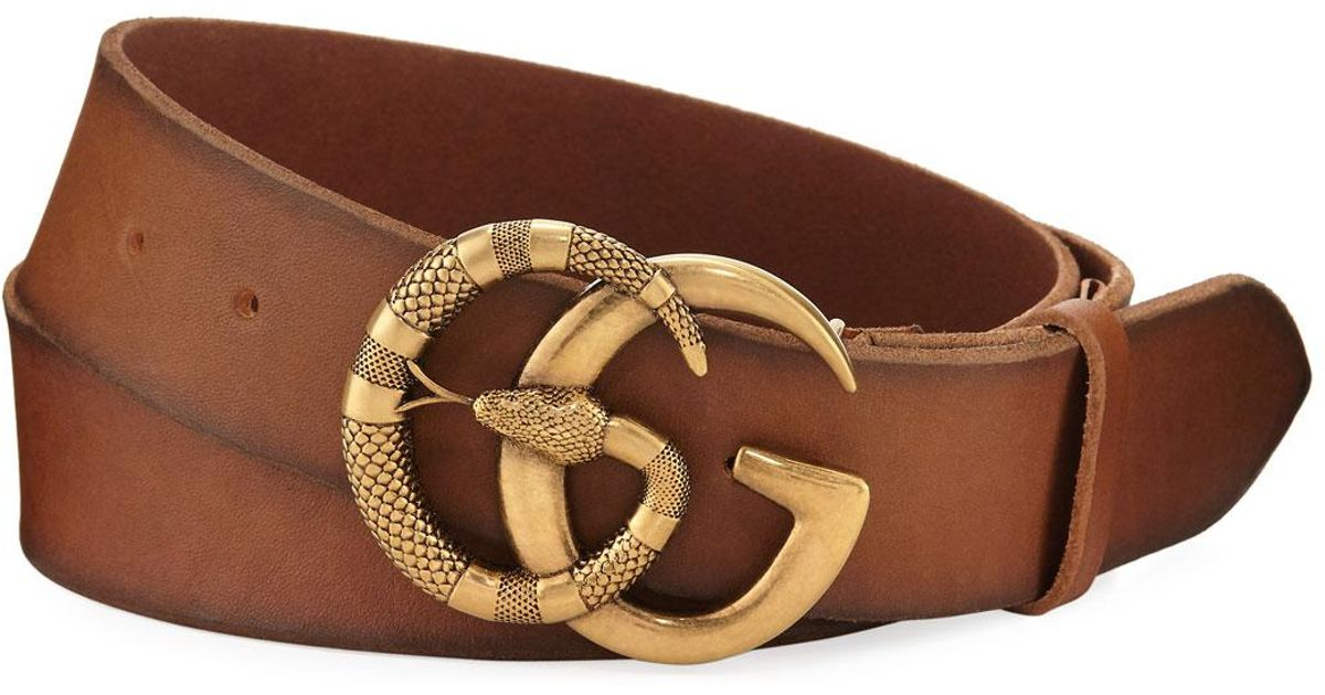 3d1a94221a8 Lyst - Gucci Cuoio Toscano Snake GG Belt in Brown for Men