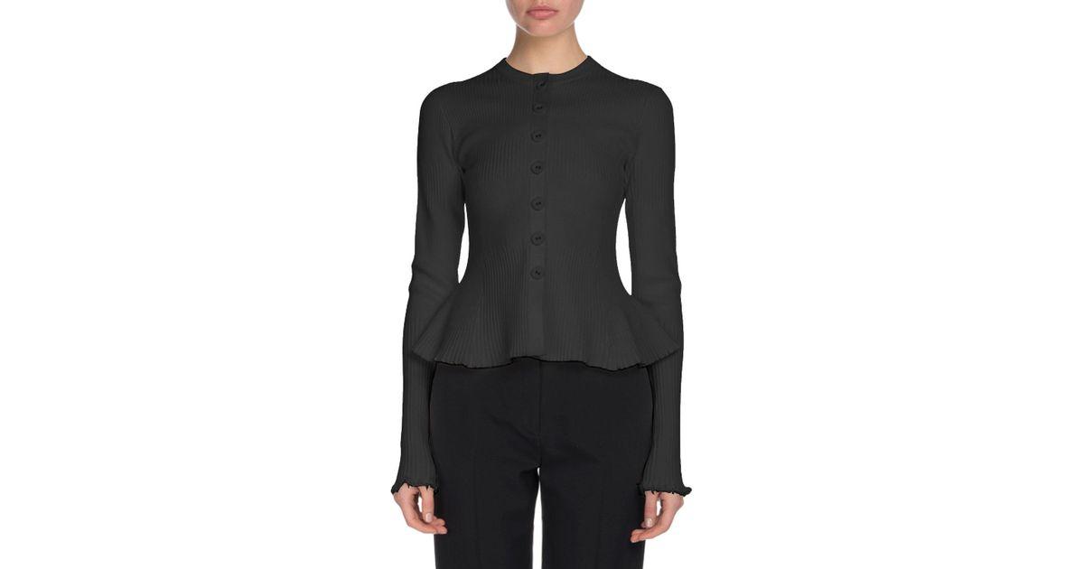 8c1328073d8f Lyst - Proenza Schouler Crewneck Button-front Cashmere Ribbed Peplum  Cardigan in Black