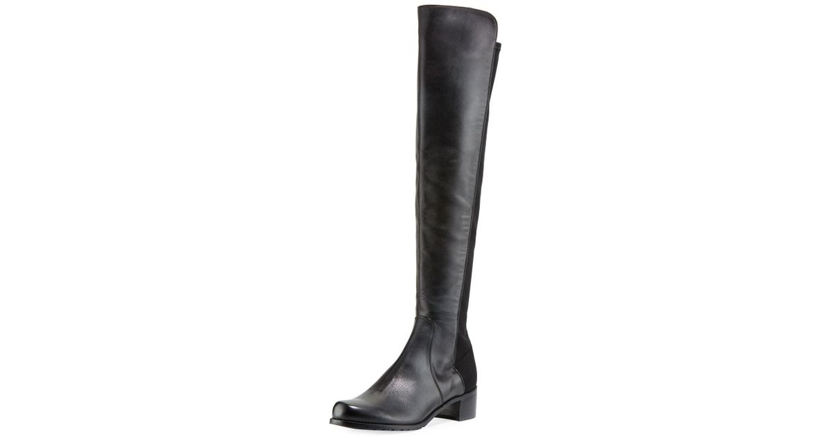 46ab0a13f67 Lyst - Stuart Weitzman Reserve Leather Stretch-back Over-the-knee Boots in  Black