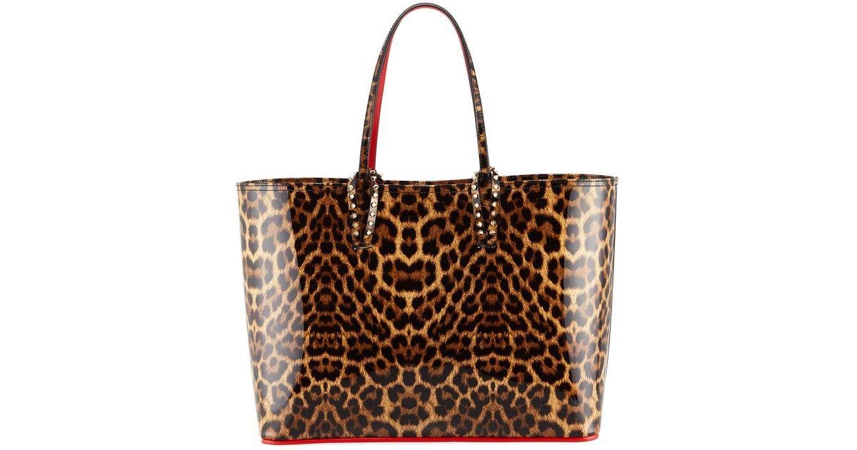 c82e32eacf4e Lyst - Christian Louboutin Cabata Patent Leopard Tote Bag