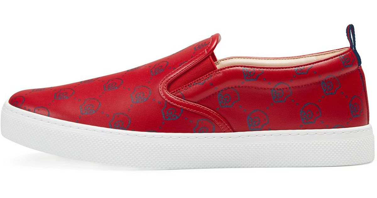 98edffa09c5 Lyst - Gucci Ghost Leather Slip-on Sneaker in Red