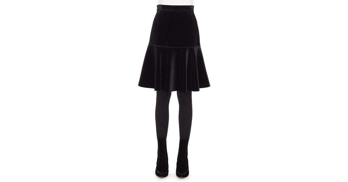 5aec5f2b3b Akris Punto Bell-shaped Scuba Velvet Knee-length Skirt in Black - Lyst