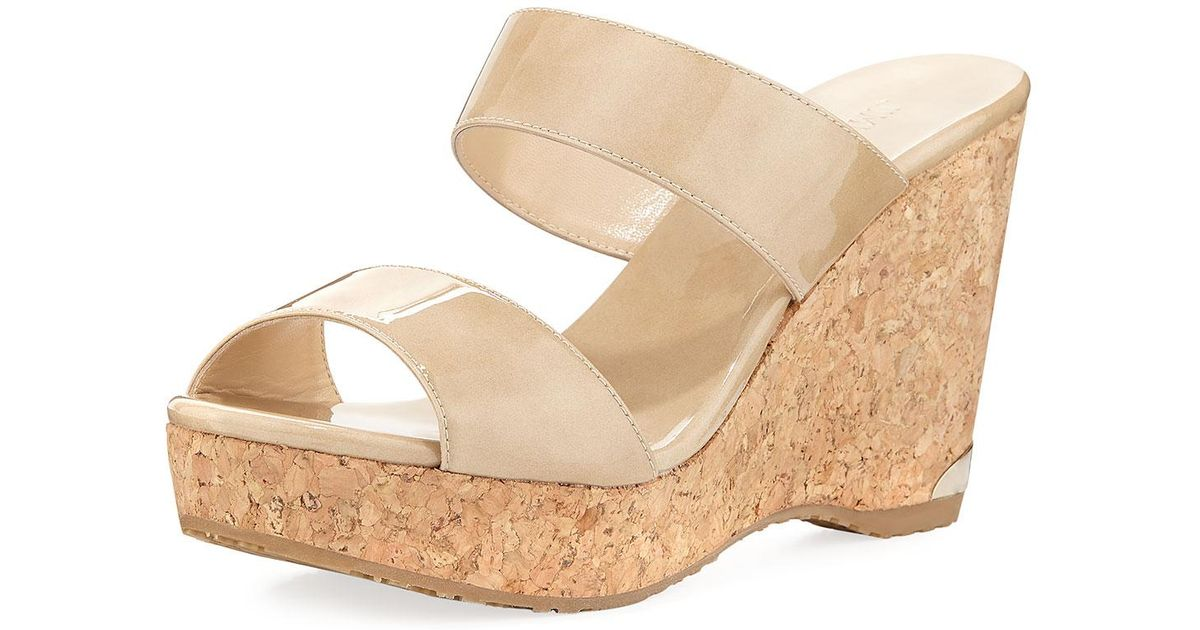 c39eaf718969 Lyst - Jimmy Choo Parker Two-band Wedge Slide Sandal in Natural
