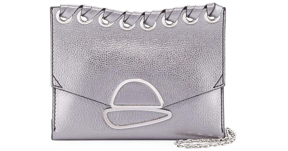 de8313bbe Proenza Schouler Small Curl Metallic Whipstitch Clutch Bag in Gray - Lyst
