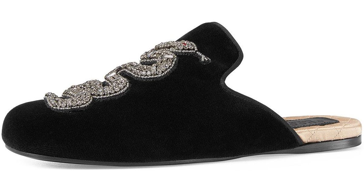 bd8f87868e9 Gucci Lawrence Crystal Snake Mule in Black - Lyst