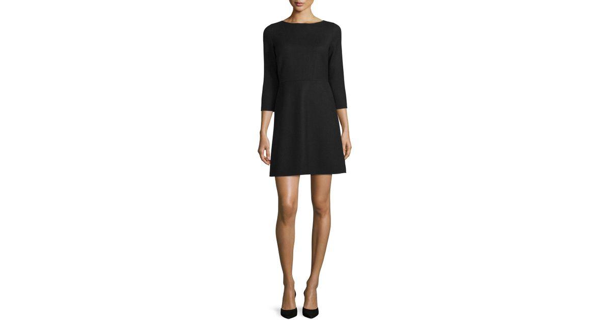 4cd9174476d60 Theory Kamillina Saxton 3/4-sleeve Dress in Black - Lyst