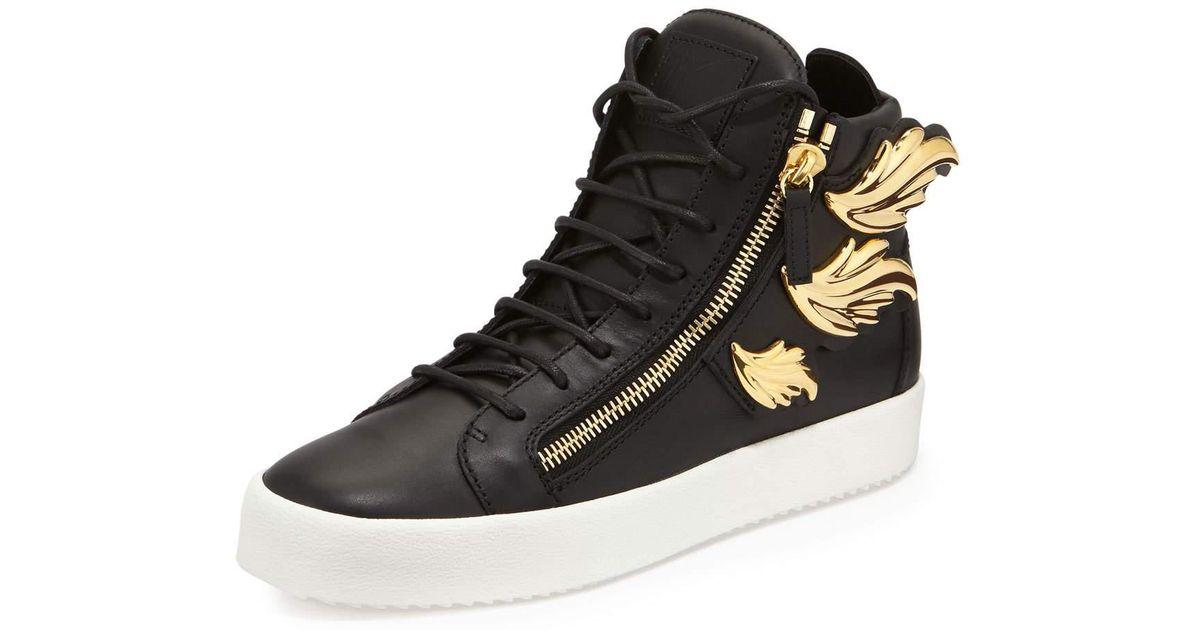 Lyst - Giuseppe Zanotti Men s Leather High-top Sneaker With Golden Wings in  Black 67ce80fbaf3e