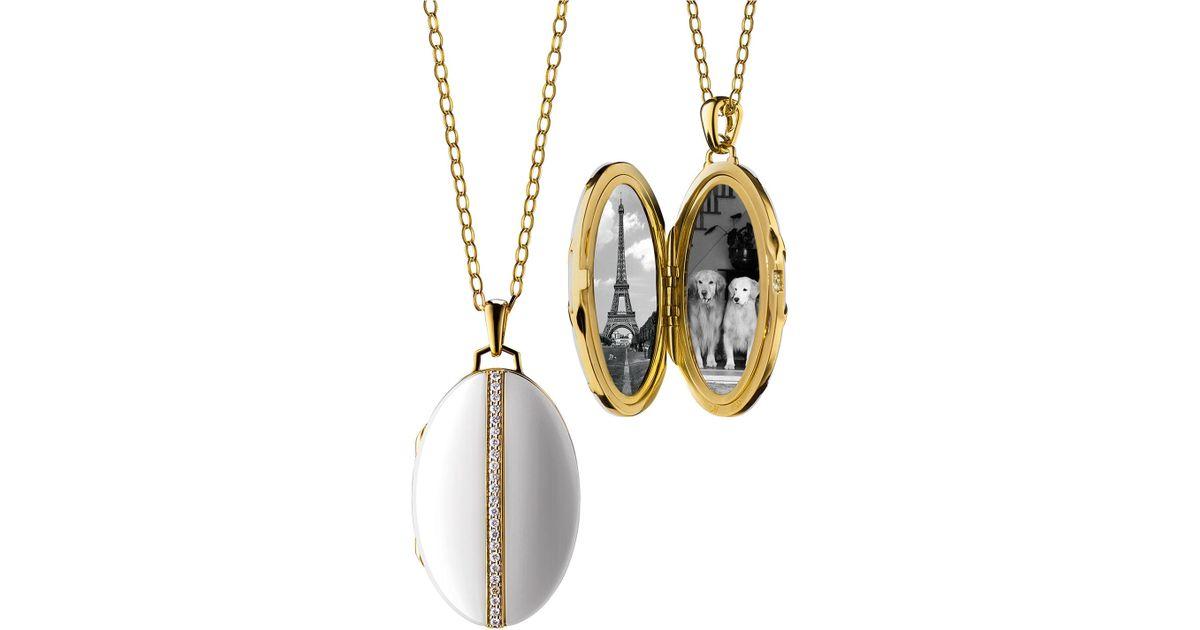 Monica Rich Kosann 18K White Gold Ceramic Chevron Locket rHOy5q