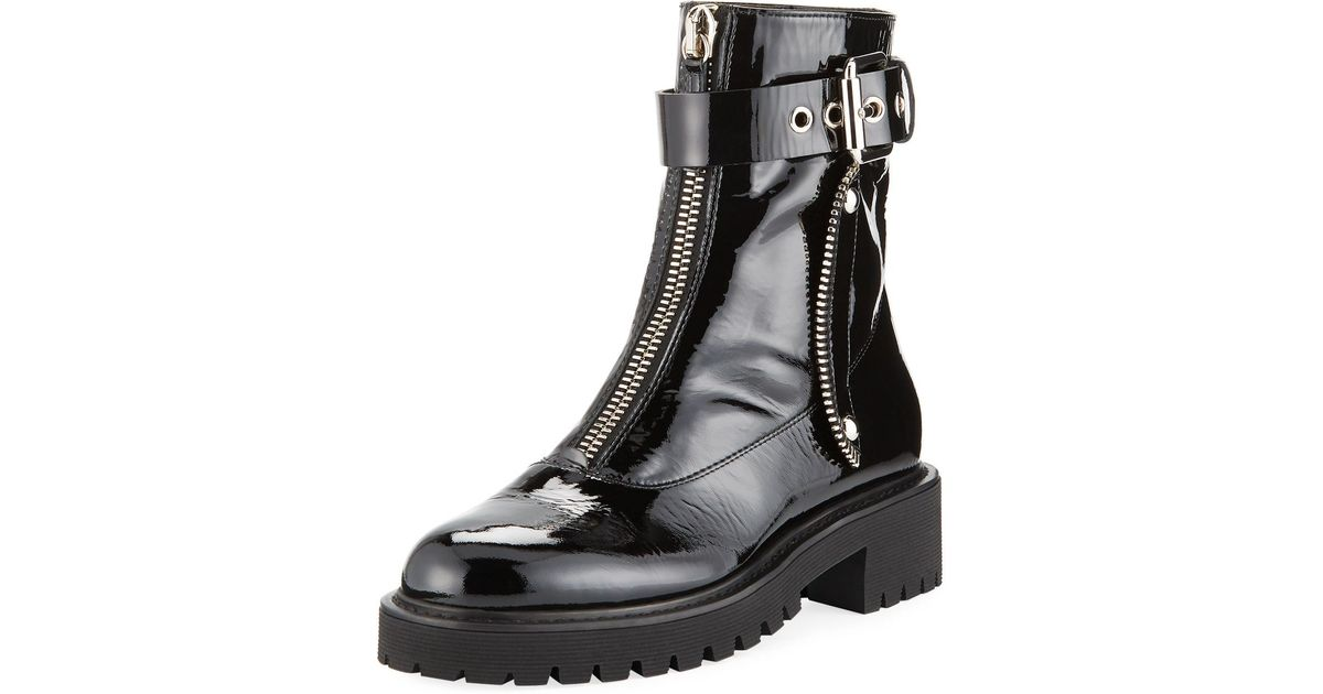 Lyst - Giuseppe Zanotti Women s Patent Leather Combat Boots - Black - Size  35 (5) in Black - Save 51% 3e041effc