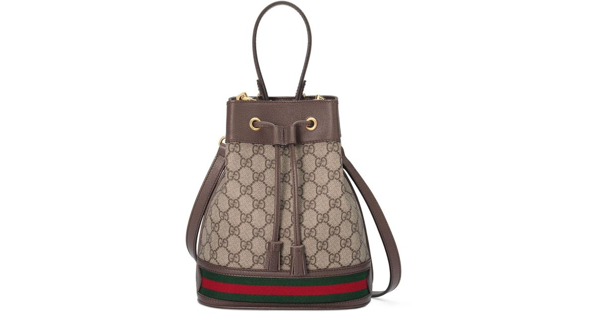 b866218066189b Gucci Ophidia Small GG Supreme Bucket Bag in Natural - Lyst