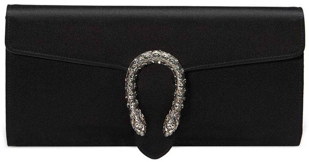 243ca4123eea Gucci Dionysus Satin Clutch Bag in Black - Lyst